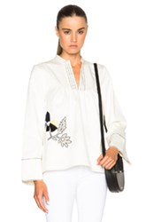 Suno Long Sleeve Bib Blouse In White