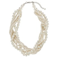 John Lewis Twist Faux Pearl Chunky Statement Necklace White