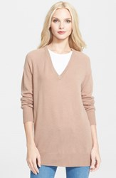 Women's Equipment 'Asher' V Neck Cashmere Sweater Camel