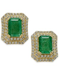 Macy's Emerald 2 Ct. T.W. And White Sapphire 1 Ct. T.W. Rectangular Stud Earrings In 14K Gold Green