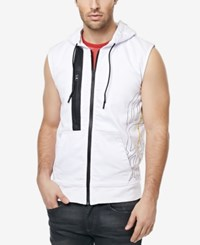 Buffalo David Bitton Men's Finn Graphic Print Sleeveless Hoodie Soft Wash White