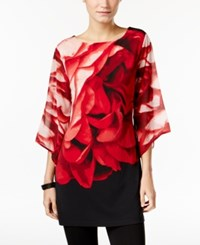 Jm Collection Floral Print Angel Sleeve Tunic Only At Macy's Red Floral
