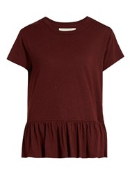 The Great Peplum Hem Distressed Cotton T Shirt Burgundy