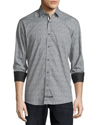 English Laundry Solid Trim Printed Sport Shirt Charcoal Blue White