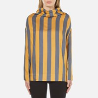 Vivienne Westwood Anglomania Women's Long Sleeve Fold Blouse Blue Yellow Multi