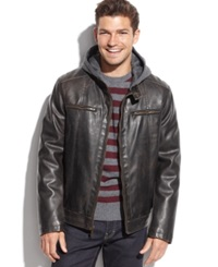 Tommy Hilfiger Hooded Faux Leather Faux Fur Lined Moto Jacket