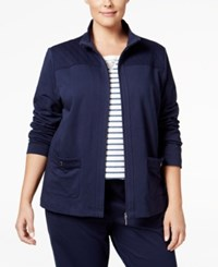 Karen Scott Plus Size Quilted Trim Lounge Jacket Only At Macy's Intrepid Blue