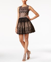 City Triangles City Studios Juniors' Embellished Contrast Lace Fit And Flare Dress Black Apricot
