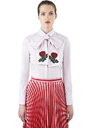 Gucci Rose Embroidered Pussybow Shirt Pink