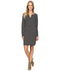 Hatley Long Sleeve Notch Neck Dress Chevron Stripe Women's Dress Black