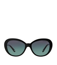Tiffany And Co. Tiffany Embellished Two Tone Oval Sunglasses Female Black