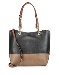 Calvin Klein Leather Reversible Tote Dark Taupe Combo