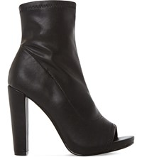 Steve Madden Especial Leather Peep Toe Ankle Boots Black Synthetic