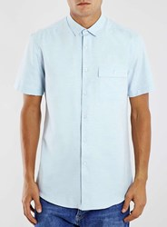 Topman Light Blue Melange Short Sleeve Casual Shirt