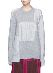 Sacai Wool Cashmere Patchwork Cotton Blend Sweatshirt Grey