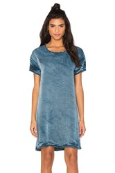 Stateside Vintage Wash Tencel Woven Short Sleeve Shift Dress Blue