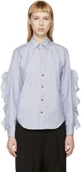 Toga Blue And White Flounce Sleeve Shirt