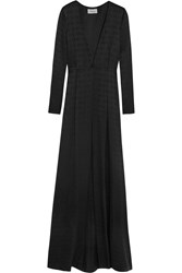 Temperley London Silk Satin Jacquard Coat Black