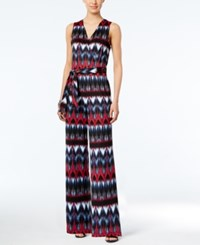 Ny Collection Petite Printed Wide Leg Jumpsuit Navy