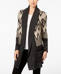 Styleandco. Style Co. Mixed Pattern Open Front Cardigan Only At Macy's Deep Black Combo