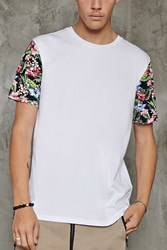 Forever 21 Tropical Floral Sleeve Tee White Green