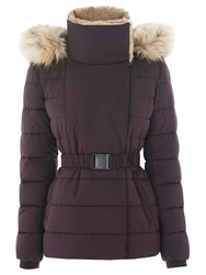 Warehouse Short Luxe Padded Jacket Dark Red