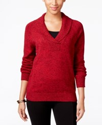 Karen Scott Marled Shawl Collar Sweater Only At Macy's New Red Amore