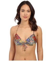 Luli Fama Gipsy Soul Molded Push Up Bandeau Halter Multicolor Women's Swimwear