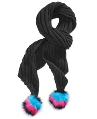 Betsey Johnson Xox Trolls Knit Scarf With Pom Poms Only At Macy's Black