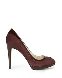 Karen Millen Patent Leather And Suede Peep Toe Platform High Heel Pumps Purple