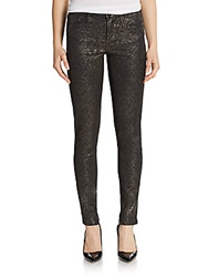 Marchesa Voyage Coated Flocked Floral Skinny Jeans Black Gold