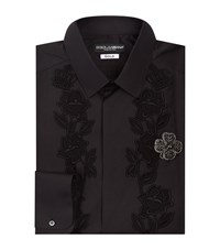 Dolce And Gabbana Embroidered Flower Shirt Male Black