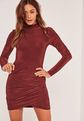 Missguided Slinky High Neck Ruched Bodycon Dress Brown Chocolate