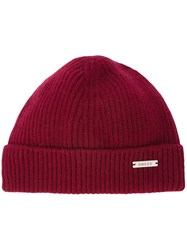 Bally Ribbed Beanie Red