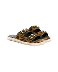 Saint Laurent Leopard Print Espadrille Sandals Black Brown Leopard Denim