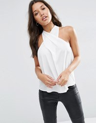 Asos Wrap Front Halter Neck Top Ivory White