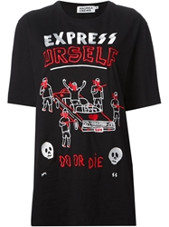 Andrea Crews 'Express Yourself' Embroidered T Shirt Black