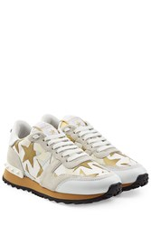 Valentino Starstudded Suede And Leather Sneakers Multicolor