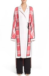Women's Acne Studios 'Vaughn Frosted' Tie Front Cardigan Pink Check