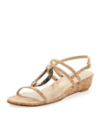 Stuart Weitzman Orlando Cork Strap Low Wedge Sandal Natural
