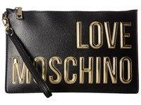 Love Moschino Logo Font Pouch Black