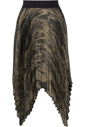 Enza Costa Asymmetric Pleated Printed Satin Skirt