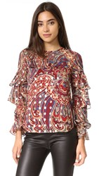 Haute Hippie Ruffle Blouse Kennedy Metallic