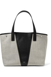 Vince Paneled Python And Linen Tote Light Gray