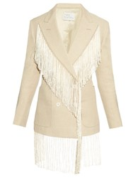 Hillier Bartley Fringed Double Breasted Linen Blazer Beige