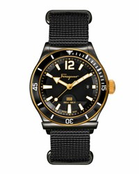 Salvatore Ferragamo 1898 Rotating Bezel Watch Black Gold Black Grey