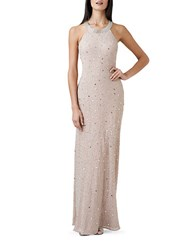 Adrianna Papell Beaded Mesh Back Gown