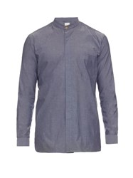 Paul Smith Cotton Collarless Shirt Light Blue
