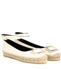 Roger Vivier Embellished Patent Leather Sandals White