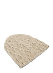 Lauren Manoogian Patchwork Cable Knitted Beanie Hat Beige